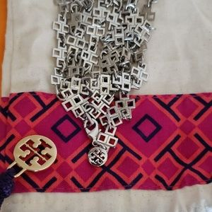Authentic Tory Burch Long Silver Necklace